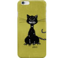 Olive Green Grunge Ragged Evil Black Cat Case iPhone Case/Skin