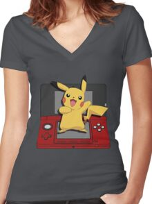 Pokémon X & Y Time! Women's Fitted V-Neck T-Shirt