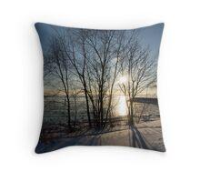 Long Shadows in the Snow Throw Pillow