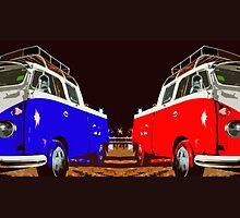 Blue & Red combi Volkswagen Duo by benbdprod