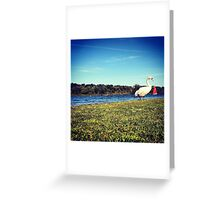 Swan over Boat Greeting Card