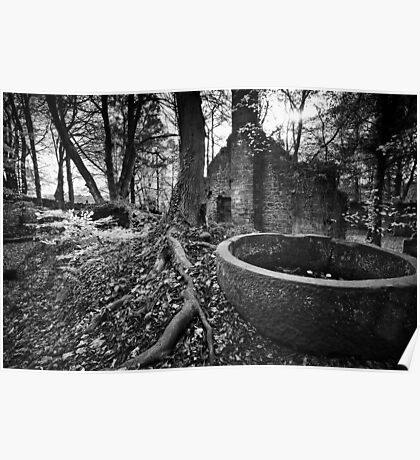 Lumsdale Mill and its Happy Demise BW Poster