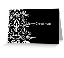 Merry Christmas - White Tree on Black Greeting Card