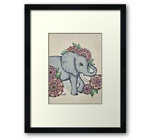 Little Elephant in soft vintage pastels Framed Print