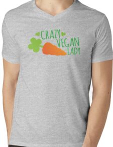 CRAZY VEGAN LADY Mens V-Neck T-Shirt