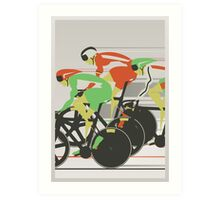 Velodrome bike race Art Print
