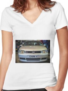 Silver VW Golf GTi Women's Fitted V-Neck T-Shirt