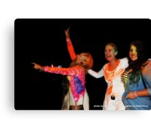 Debra at Holi Festival with neice and friend  Canvas Print