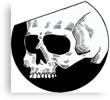 Graphic round white skull Canvas Print