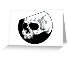 Graphic round white skull Greeting Card