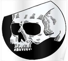 Graphic round white skull Poster