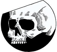 Graphic round white skull Photographic Print