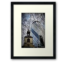 juxstaposition old and new build  Framed Print