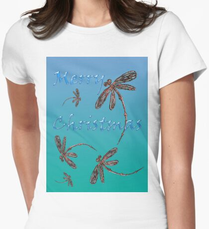 Merry Christmas Dragonflies  Womens Fitted T-Shirt