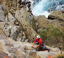 Rock Climber at White Water Wall, Tasmania by Nick Delany