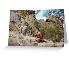 Rock Climber at White Water Wall, Tasmania Greeting Card