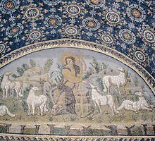 The Good Shepherd and his Sheep mosaic mid C5 Tomb of Gallia Placida Ravenna Italy 198404140074  by Fred Mitchell