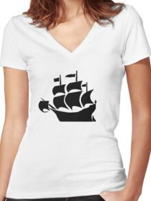 Galleon Women's Fitted V-Neck T-Shirt