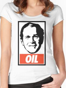 George W. Bush OIL - OBEY Parody Women's Fitted Scoop T-Shirt