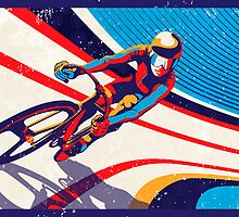 retro track cycling print poster by SFDesignstudio