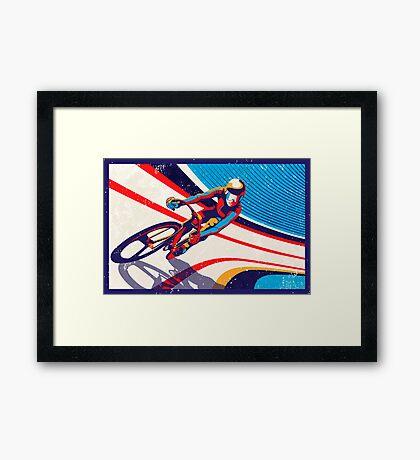 retro track cycling print poster Framed Print