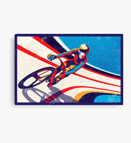 retro track cycling print poster Canvas Print