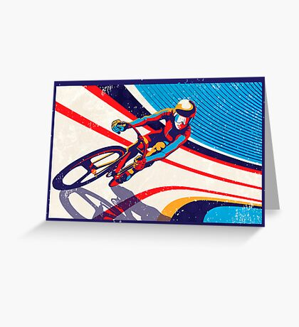 retro track cycling print poster Greeting Card