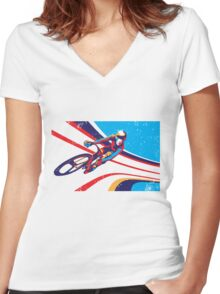 retro track cycling print poster Women's Fitted V-Neck T-Shirt
