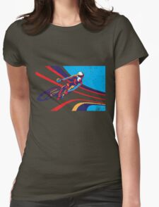 retro track cycling print poster Womens Fitted T-Shirt