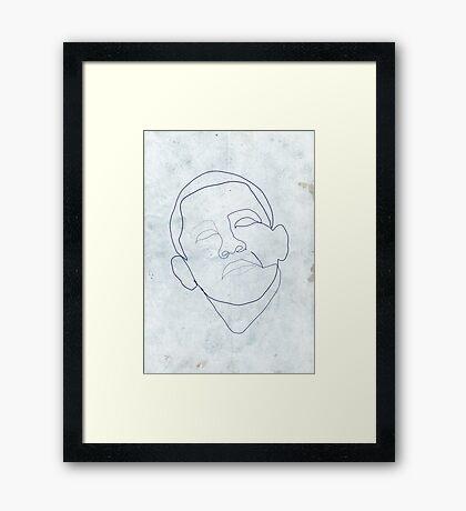 Barack Obama one-line drawing. Framed Print