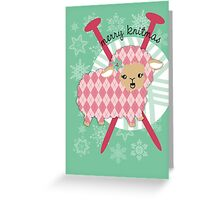 argyle sheep knitting needles yarn Christmas card Greeting Card