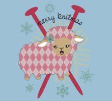 argyle sheep knitting needles yarn Christmas card Kids Tee
