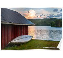 Swedish Sundown at a Lake Poster