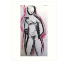 Abstract Nude in Red and Black Art Print