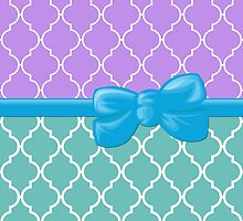 Ribbon and Bow, Moroccan Trellis Blue White Purple by sitnica