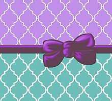 Ribbon, Bow, Moroccan Trellis - Blue White Purple by sitnica