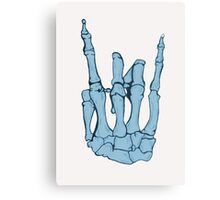 Skeleton hand | Blue Canvas Print