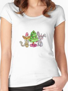 Kitty and Bunny and the Christmas Tree Women's Fitted Scoop T-Shirt