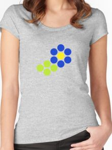 Polka Dot Flower (Blue) Women's Fitted Scoop T-Shirt