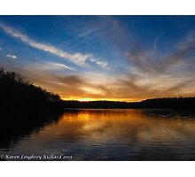 Sunset over Fall Creek Falls lake Photographic Print