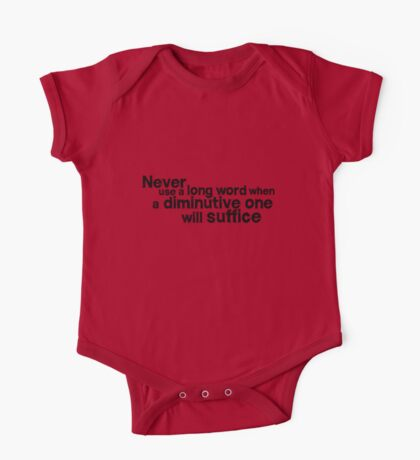 Never use a long word when a diminutive one will suffice One Piece - Short Sleeve