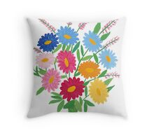 Hand painted bouquet of daisies, flowers Throw Pillow