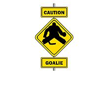 Caution Goalie Sign Photographic Print