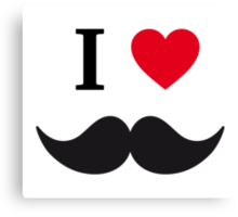 I love mustache with red heart Canvas Print