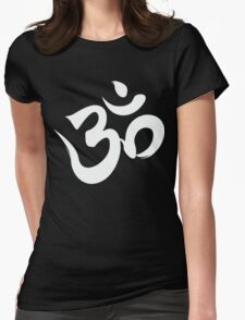 ohm white Womens Fitted T-Shirt