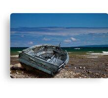 Boat shipwrecked on a Lake Michigan Shore Canvas Print
