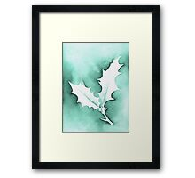 'Holly Leaves' Christmas design - Aquamarkers. Framed Print