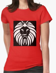Lion Black & White Womens Fitted T-Shirt