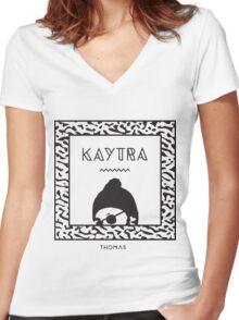 Kaytranada with white 'kayta' Women's Fitted V-Neck T-Shirt