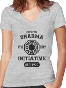 Dharma Initiative athletic department (Black ver.) Women's Fitted V-Neck T-Shirt